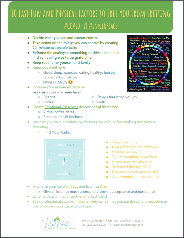 LifePoint Therapy Corona Virus Handout on Stress Management