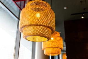 Decorating Hanging Lantern Lamps In Wooden Wicker Made From Bamboo.asian Style.pendant Light With Wicker Lampshade, Rustic Style.